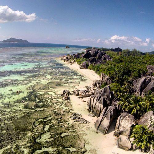Beauty In Nature Cliff Cloud - Sky Coastline Day Drone  Horizon Over Water Idyllic Non Urban Scene Non-urban Scene Remote Rock Rock - Object Rock Formation Scenics Sea Seychelles Shore Sky Tranquil Scene Tranquility Water