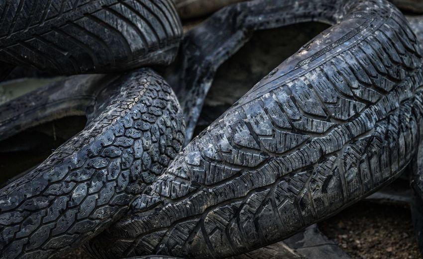 Full frame shot of abandoned tires