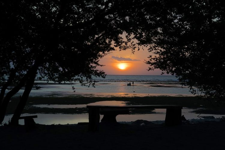 Sunlight Sunset Silhouettes Sunset_collection Beachphotography Beauty In Nature Bench Idyllic Lake Nature No People Orange Color Outdoors Park Bench Plant Scenics - Nature Seat Silhouette Sky Sun Sunbeam Sunset Tranquil Scene Tranquility Tree Water