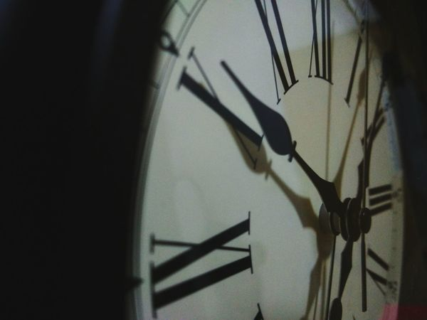 time waits for no one. Clock Clock Face Minute Hand Roman Numeral Urgency Shadow Hour Hand Built Structure Close-up No People Indoors  Midnight Time High Angle View Young Adult Skill  Domestic Room