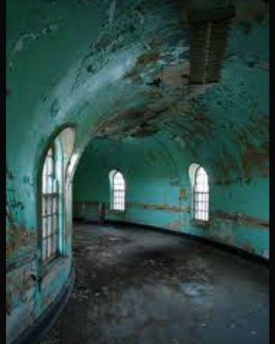 Spooky Hallway Haunted Psychiatric Mental Hospital  Asylum Tunnel Abandoned Empty Old Buildings