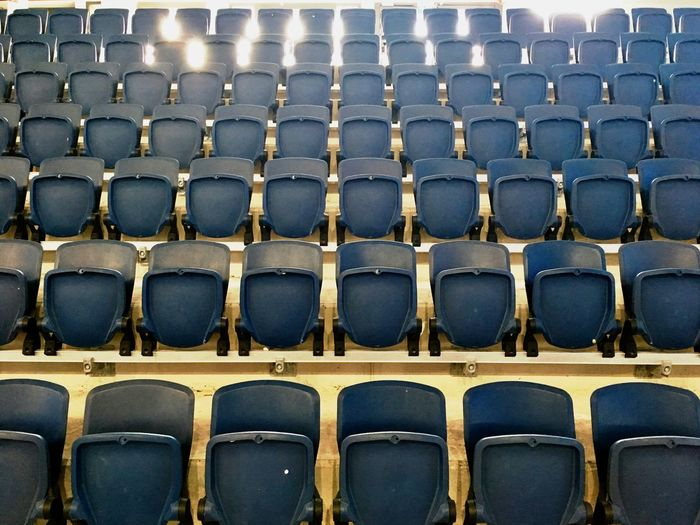 Empty Blue Chairs In Stadium