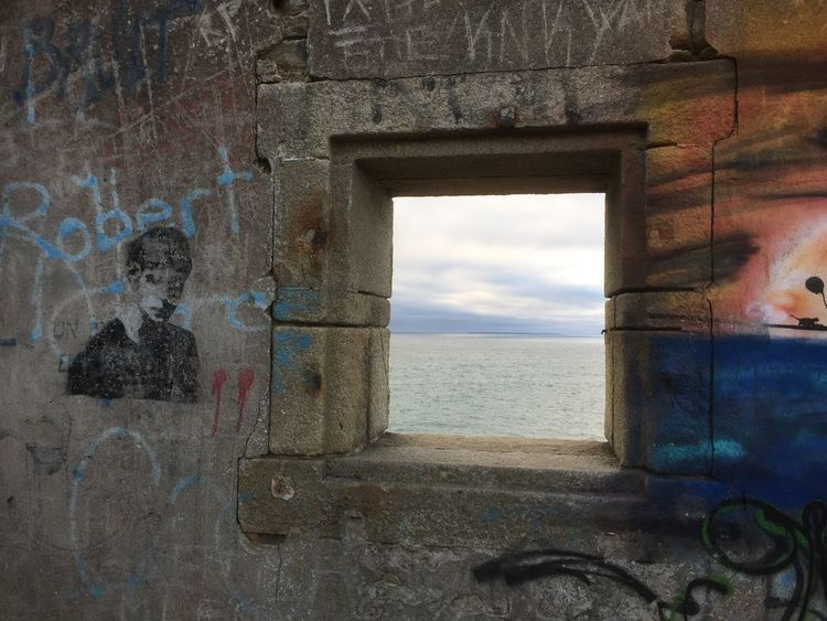 Bretagne Côté Sauvage Sea Water Window Architecture Built Structure Horizon Over Water Sky Building Exterior Beach Outdoors No People Nature Day Close-up Graffiti Abandoned Lost In The Landscape