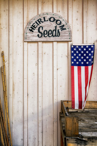 Heirloom Seed For Sale with Flag and Potting Table American Flag Americana Plants Seeds Flag Flower Seeds Garden Center Growing Plants Heirloom Seeds No People Organic Organic Gardening Outdoors Patriotism Potting Potting Table