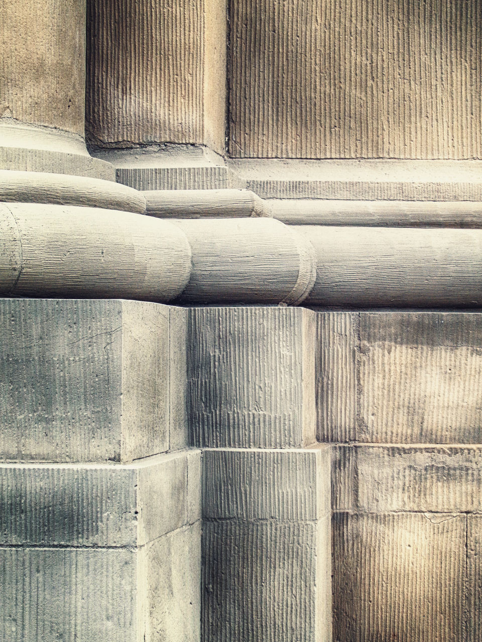 architecture, pattern, full frame, built structure, no people, backgrounds, day, close-up, textured, wall - building feature, sunlight, indoors, pipe - tube, architectural column, pipeline, metal, staircase, wood - material, concrete, ceiling, silver colored