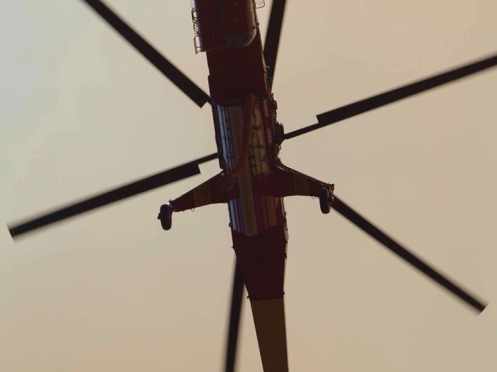 Low Angle View No People Transportation Outdoors Day Clear Sky Close-up Sky Helicopter Wild Fire