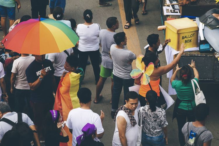 Yes to Gender Equality! The Troublemakers State Of The Nation Address Eyeem Philippines Streetphoto_color Street Photography Rally Protest Parade March Demonstration Real People People Group Of People Crowd Multi Colored Butterfly Wings Rainbow Umbrella Rainbow Umbrella Flag Rainbow Flag Lgbt