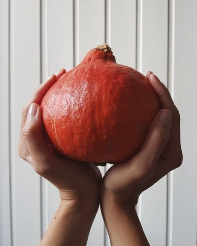 Autumn Red One Person Food And Drink Human Body Part Close-up Food Freshness Round Food Ready-to-eat White Background Vegetable Pumpkin Minimalism EyeEm Best Shots The Week On EyeEm Autumn October Beauty In Nature Hungry For Sale Orange Healthy Eating Freshness Holding Female Hand