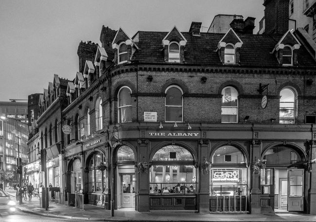 The Albany at dusk, Great Portland Street, Marylebone, London Architecture London Pub Pubs Marylebone Monochrome Black And White FUJIFILMXT2 Monochrome Photography FUJIFILM X-T2 London Architecture