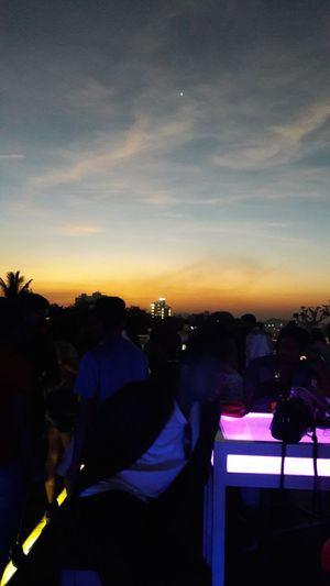 Sunset Sky Cloud - Sky Night Lifestyles Photographing People Rooftop Partyscenes ShiningStar