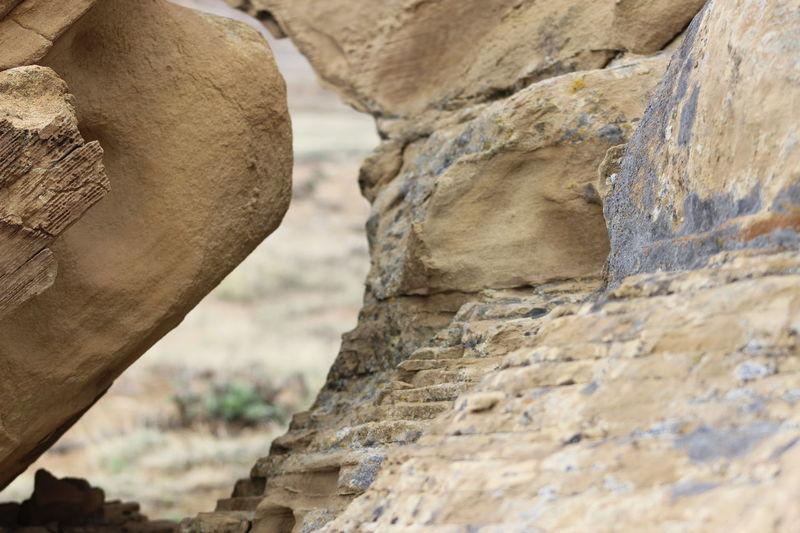 Distant Background Wyoming Rock Formation Lichen On A Rock Lichen Rock Erosion Effects
