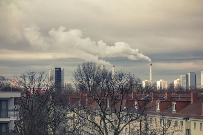 Clouds Industrial Landscapes Trees Nearly Spring