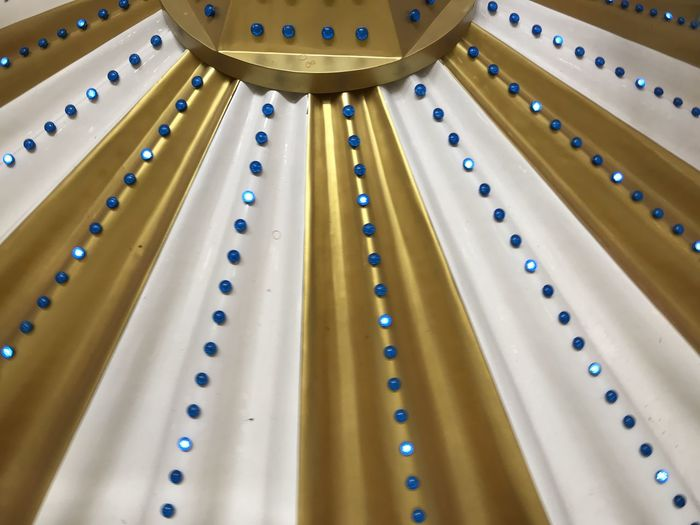 Low angle view of ceiling with lights