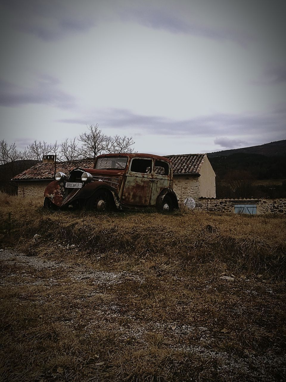 damaged, abandoned, landscape, obsolete, sky, run-down, no people, field, transportation, day, bad condition, destruction, outdoors, nature