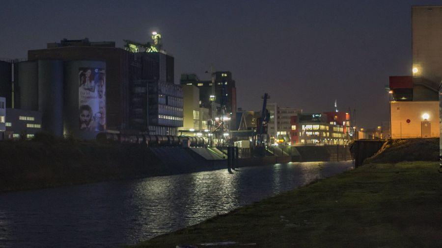 Erft Hafen Inland Port Nacht Neuss Night Nightview