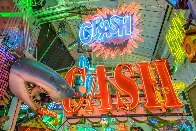 Neon signs and decorations at God's Own Junkyard in Walthamstow, London. Bright Colors Colourful Crash Neon Signs Casual Clothing City Lighting Multi Colored Neon Neon Lights Text Urban Urban Lighting