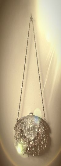 Beige Background Indoors  Illuminated Close-up Handbag  Bag Fashion Perle De Rocaille Vintage decorative bag Lieblingsteil