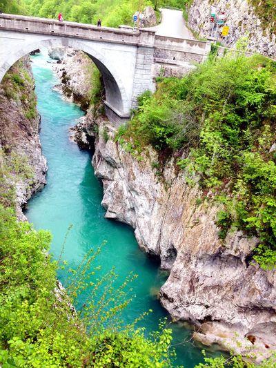 Kobarid Caporetto Nature River View Bridge Most Stunning Shot Slovenia Triglav Park Naturalpark