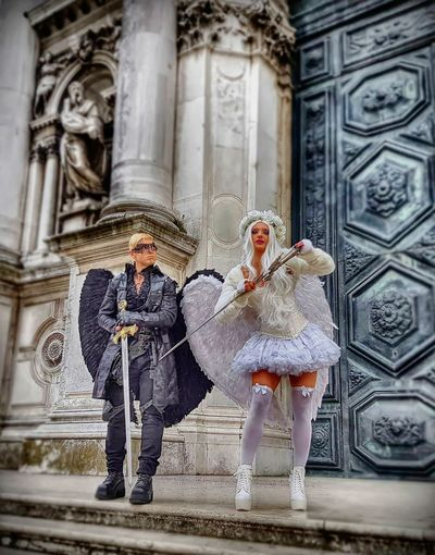 Two People Adults Only Travel Destinations Venice, Italy Venice Costume Angel Wings Swords
