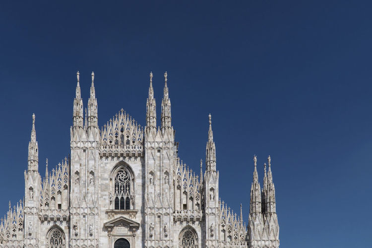 Duomo milano in front of clear sky, milan, italy , dome