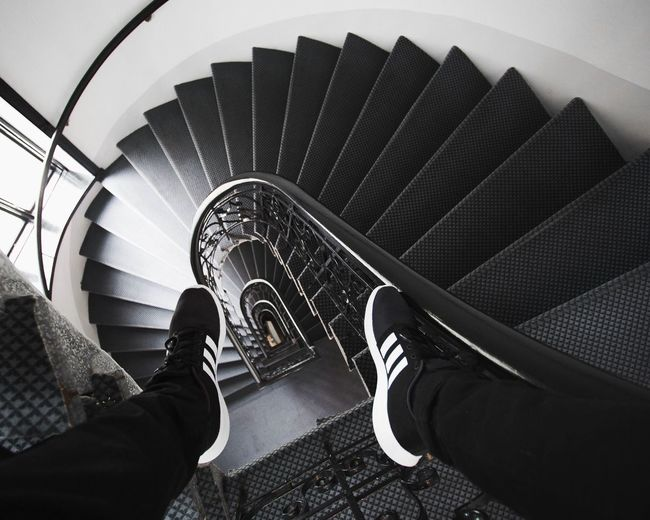 IG/ @in.visualz Adidas Adidasoriginals Steps And Staircases Staircase Steps Spiral Railing High Angle View Shoe Personal Perspective Spiral Staircase Architecture Indoors  Casual Clothing Lifestyles Leading Lines Light And Shadow Clothes Shoes Minimalism Streetwear Urban Exploration EyeEm Best Edits Lifestyle City The Week On EyeEm EyeEmNewHere