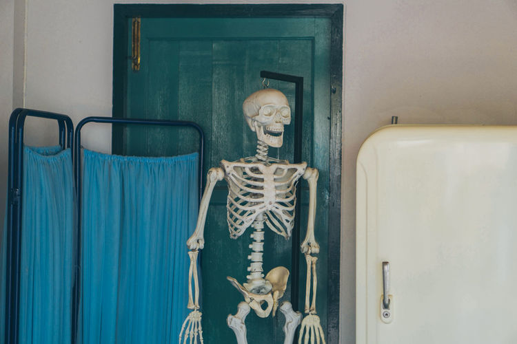 Human skeleton in hospital