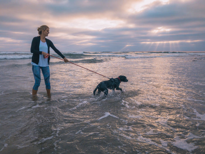 Woman With Dog Wading In Sea Against Sky During Sunset