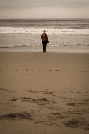 Cantabric Sea Girl In The Beach Thinking