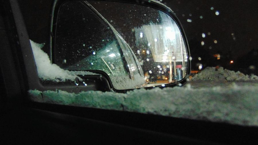 Night Side-view Mirror Close-up Road Street No People Transportation Car Land Vehicle Mode Of Transport Windshield Travel Car Interior Vehicle Interior Traffic Water Sky Outdoors Illuminated Vehicle Mirror