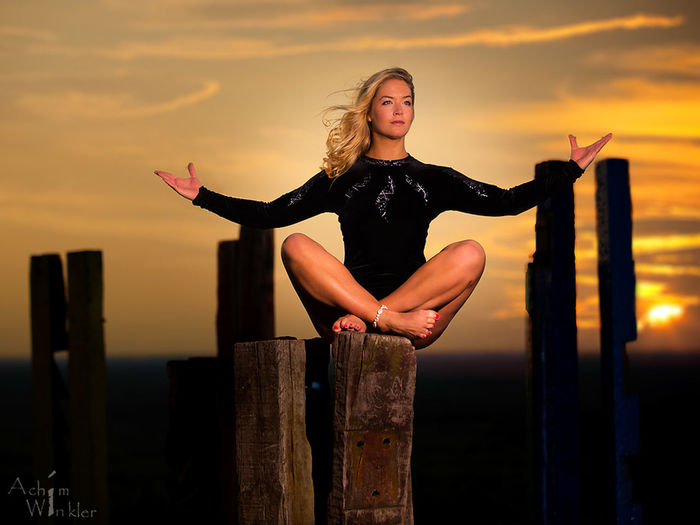 Meditation Be. Ready. Beautiful Woman Beauty In Nature Blond Hair Day Lifestyles One Person Outdoors Real People Sky Sunset Young Adult Young Women first eyeem photo