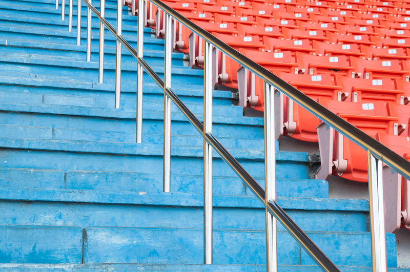 Low angle view of steps in stadium