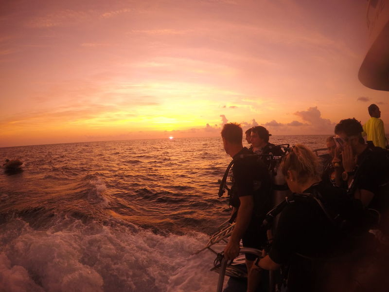 Diving Adventure Beauty In Nature Boat Cloud - Sky Horizon Over Water Large Group Of People Leisure Activity Liveaboard Nature Night Dive Orange Color Outdoors Real People Scenics Sea Sky Standing Sun Sunset Togetherness Vacations Water Wave