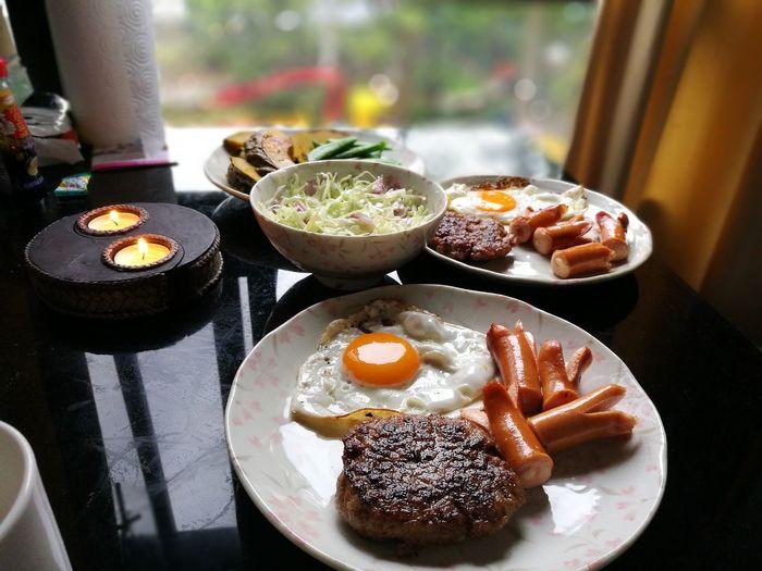 吃 早饭 Food Day Breakfast Ready-to-eat Fried Egg Grill