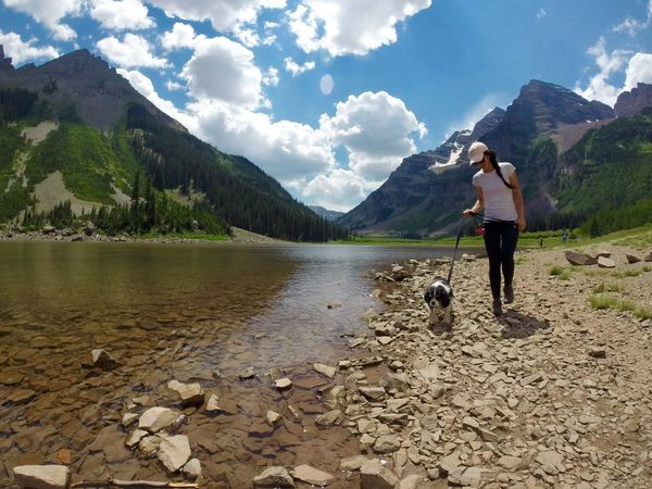 Adventure Aspen, Colorado Beauty In Nature Colorado Colorado Photography Hike Hiker King Charles Cavalier Lake Lakeshore Landscape Maroon Bells Mountain Mountain Range Nature Outdoors Rocky Mountains Spaniel Travel Vacation Water Reflections Woman And Dog Women Around The World The Great Outdoors - 2017 EyeEm Awards Live For The Story Lost In The Landscape Perspectives On Nature Summer Exploratorium