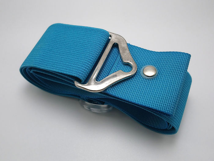 High angle view of blue container against white background