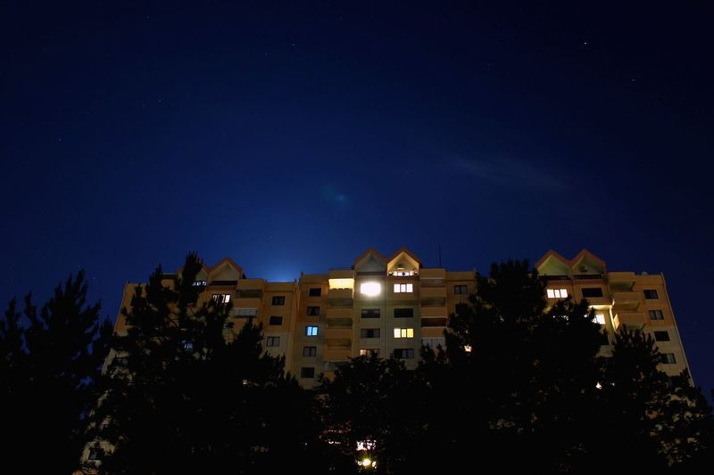 Apartment Building Architecture Night Illuminated Building Exterior Architecture Tree No People Built Structure Star - Space Low Angle View Sky Outdoors Nature Moon Beauty In Nature Astronomy City Space Bluesky Live For The Story The Great Outdoors - 2017 EyeEm Awards The Architect - 2017 EyeEm Awards Live For The Story Place Of Heart