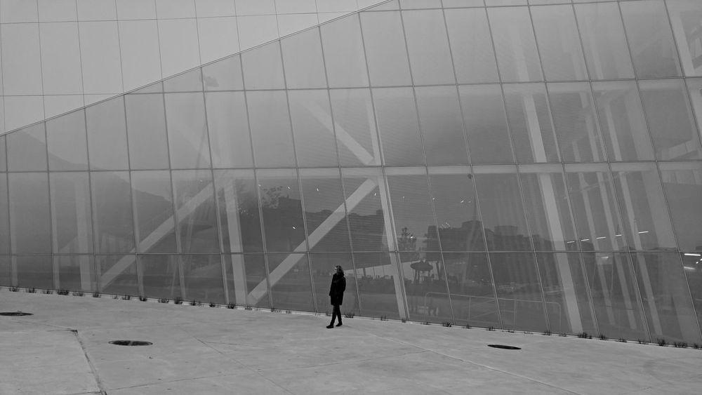 Solitude Glass And Steel Modern Architecture Slanted Building Unique Silhouette Perspective Black And White Oblique Angle Futuristic Design Cityscapes Modern Architecture One Person Montréal Canada Black & White Collection Black And White Friday The Graphic City