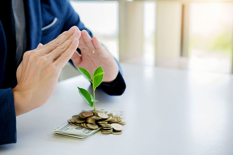 Midsection of businessman with money and plant at desk in office
