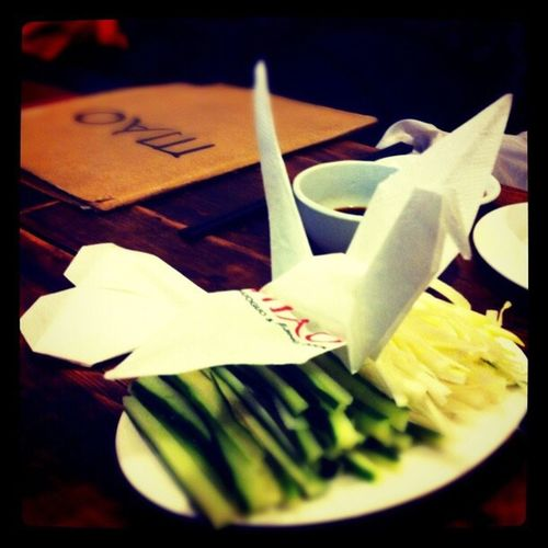 NapkinFolding Beijing Duck No People Indoors  Table Close-up Freshness Food Day