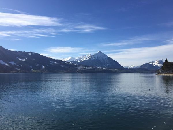 Interlaken Mountain Beauty In Nature Water Waterfront Scenics Nature Sky Mountain Range Landscape No People Tranquility Outdoors Day Snow Blue Sky Blue Water Blue Lake Thunersee