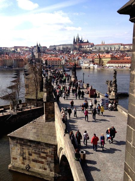 Chez Republic Prague Karlův Most Charles Bridge Building Exterior Built Structure Large Group Of People River High Angle View City Outdoors Travel Destinations Water Cityscape EyeEm Eyeemphotography EyeEm Gallery Architecture Mideval VltavaRiver Vltava River Moldau