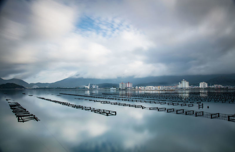 oyster farms on geoje island Oysters Korea Korean Korean Landscape Oyster Farm Geoje Geoje Myeon Water Sea Mountain Technology Fog Reflection Sky Cloud - Sky Standing Water EyeEmNewHere