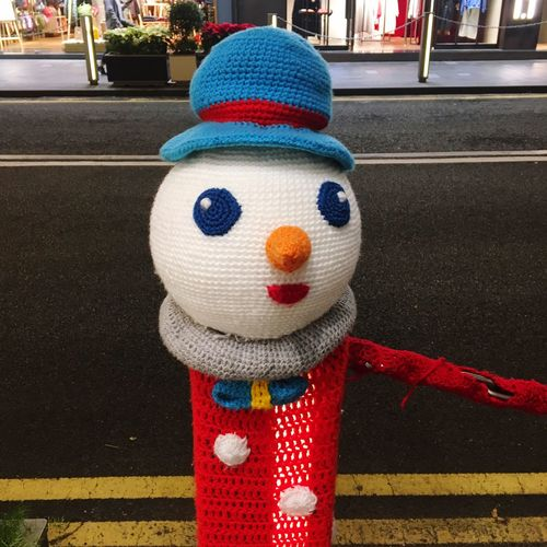 Merry Christmas Christmas Decoration Knit Art Snow Man Street Day Outdoors No People Close-up Anthropomorphic Face