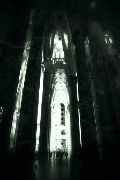 Sagrada Familia Low Angle View Architecture Built Structure Indoors  Church History Arch Place Of Worship Architectural Column Tall - High Interior Arcade Gothic SPAIN Barcelona Black And White Gaudi Majestic Monochrome Photography