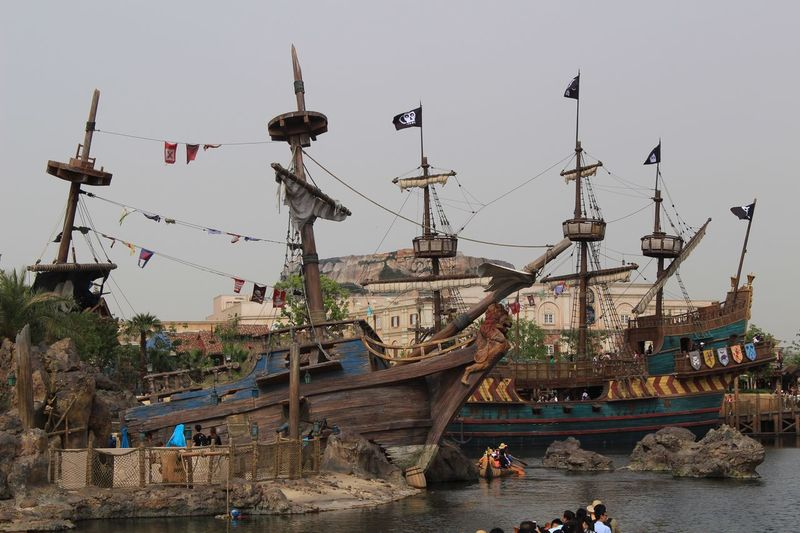 Nautical Vessel Flag Built Structure Real People Water Day Architecture Men Outdoors Building Exterior Togetherness Sea Nature Sky Mammal People Shanghaidisneyresort Shanghaidisneyland Disney Disneyland