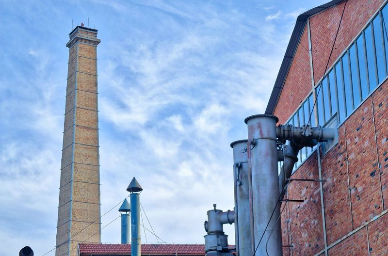 Athens Greece Gazi, Industrial museum Built Structure Architecture Building Exterior Sky Factory Cloud - Sky Low Angle View Industry Day Nature No People Smoke Stack Building Outdoors Brick Industrial Building  Tall - High City Chimney Brick Wall