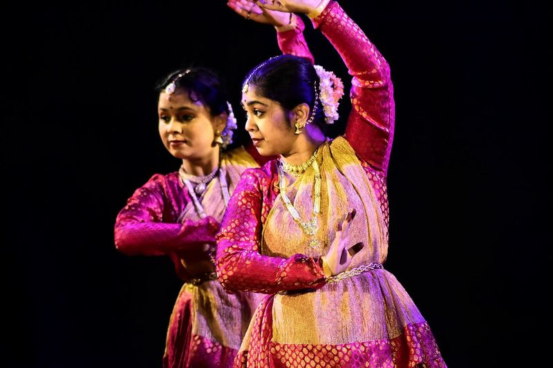 Two People Arts Culture And Entertainment Performing Arts Event Portrait Black Background People Dance Kathak Indian Folk