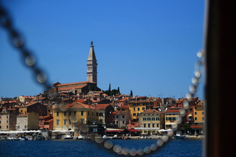 Architecture Backgrounds Building Exterior Built Structure Chain City Clear Sky Copy Space Croatia Day EyeEm Best Shots EyeEmNewHere Istria Landscape Nautical Vessel No People Outdoors Place Of Worship Religion Rovinj Sky Spirituality Travel Destinations Water Waterfront