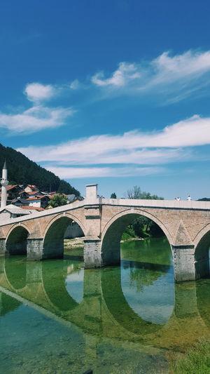 Reflections Water Connection Bridge River Neretva Bosnia Architecture Art Sunny Day