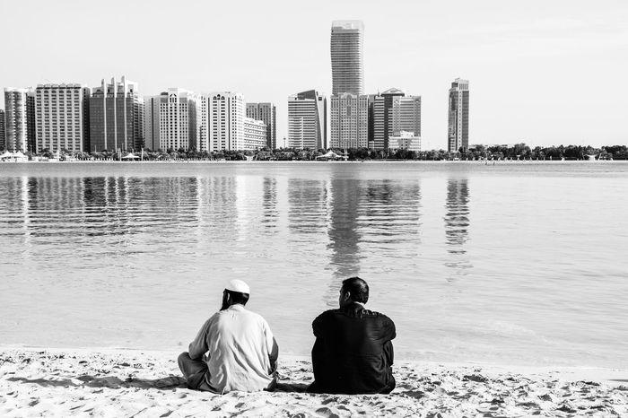 Seaside Urban Landscape Sunny Sunday Relaxing In The Sun Abudhabi Blackandwhite Enjoying Life Marina Beach Cityscape
